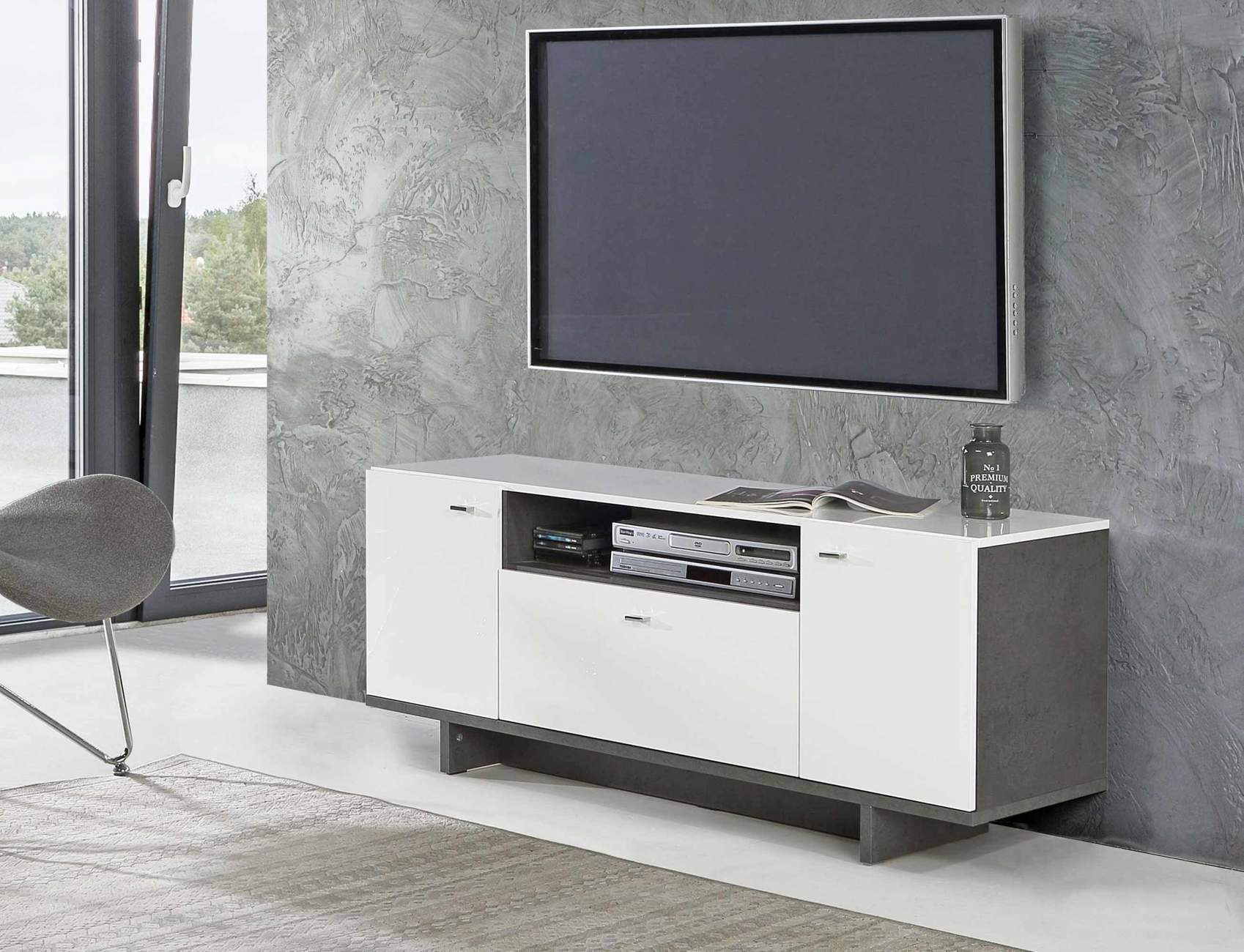 lowboard makaria 2 t ren tv kommode in betonoptik wei gl nzend. Black Bedroom Furniture Sets. Home Design Ideas