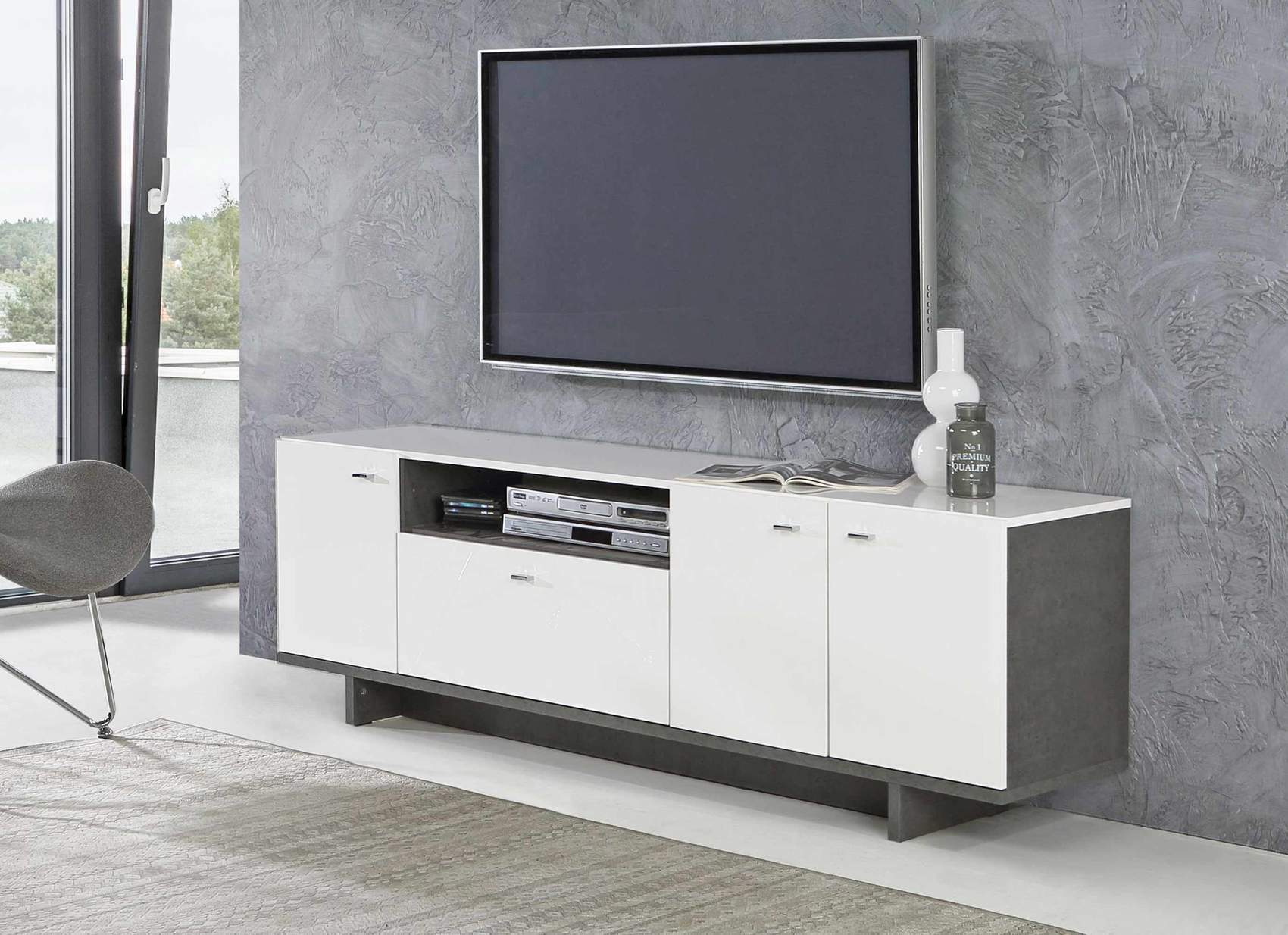 lowboard makaria 3 trg tv kommode in betonoptik wei gl nzend. Black Bedroom Furniture Sets. Home Design Ideas