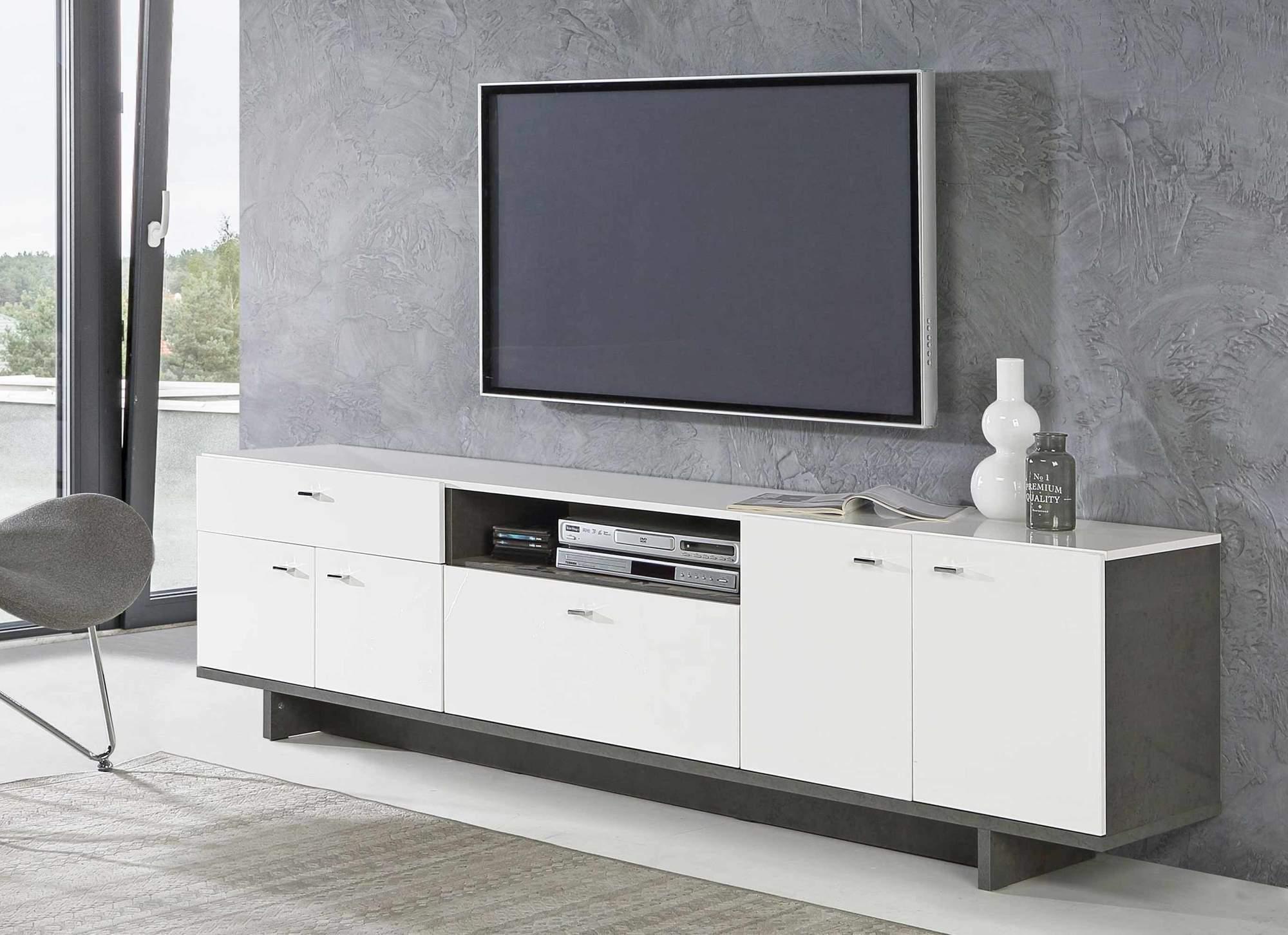 Lowboard Makaria 4 Trg Tv Kommode In Betonoptik Weiss Glanzend