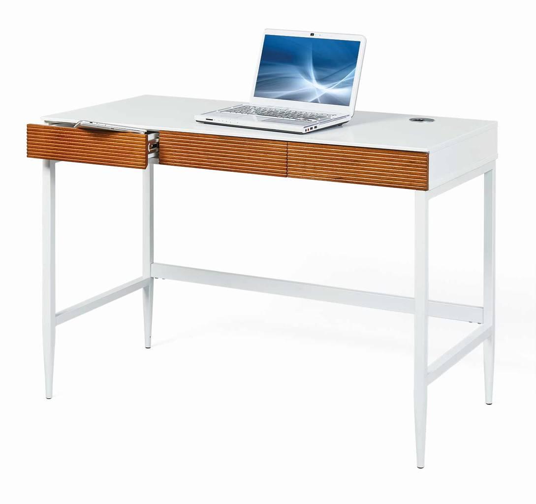 Schreibtisch SCANDICI Bürotisch 3 Schubladen Weiß Eiche massiv
