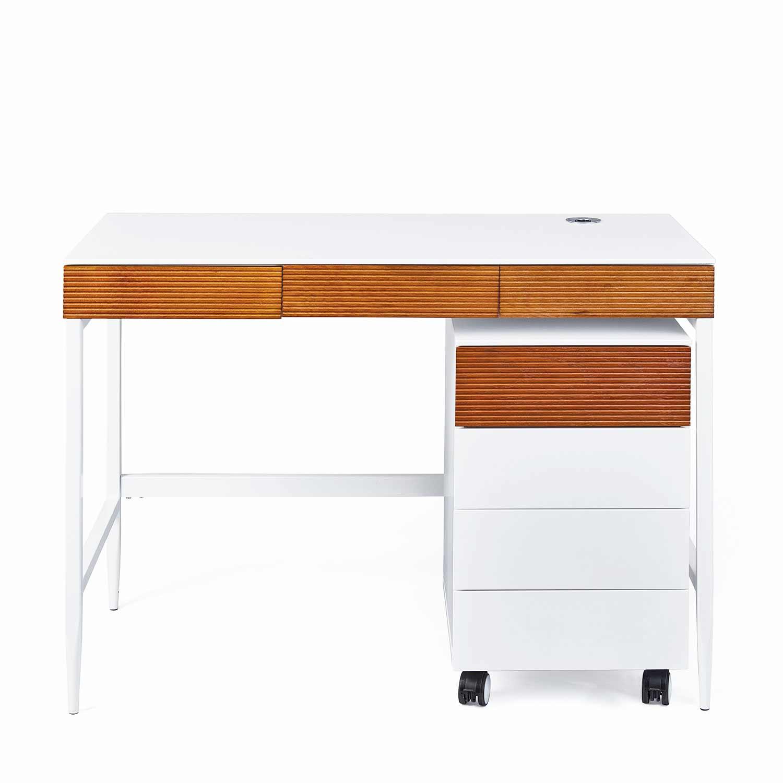Schreibtisch Set Scandici Bürotisch Und Rollcontainer Weiß Und Eiche
