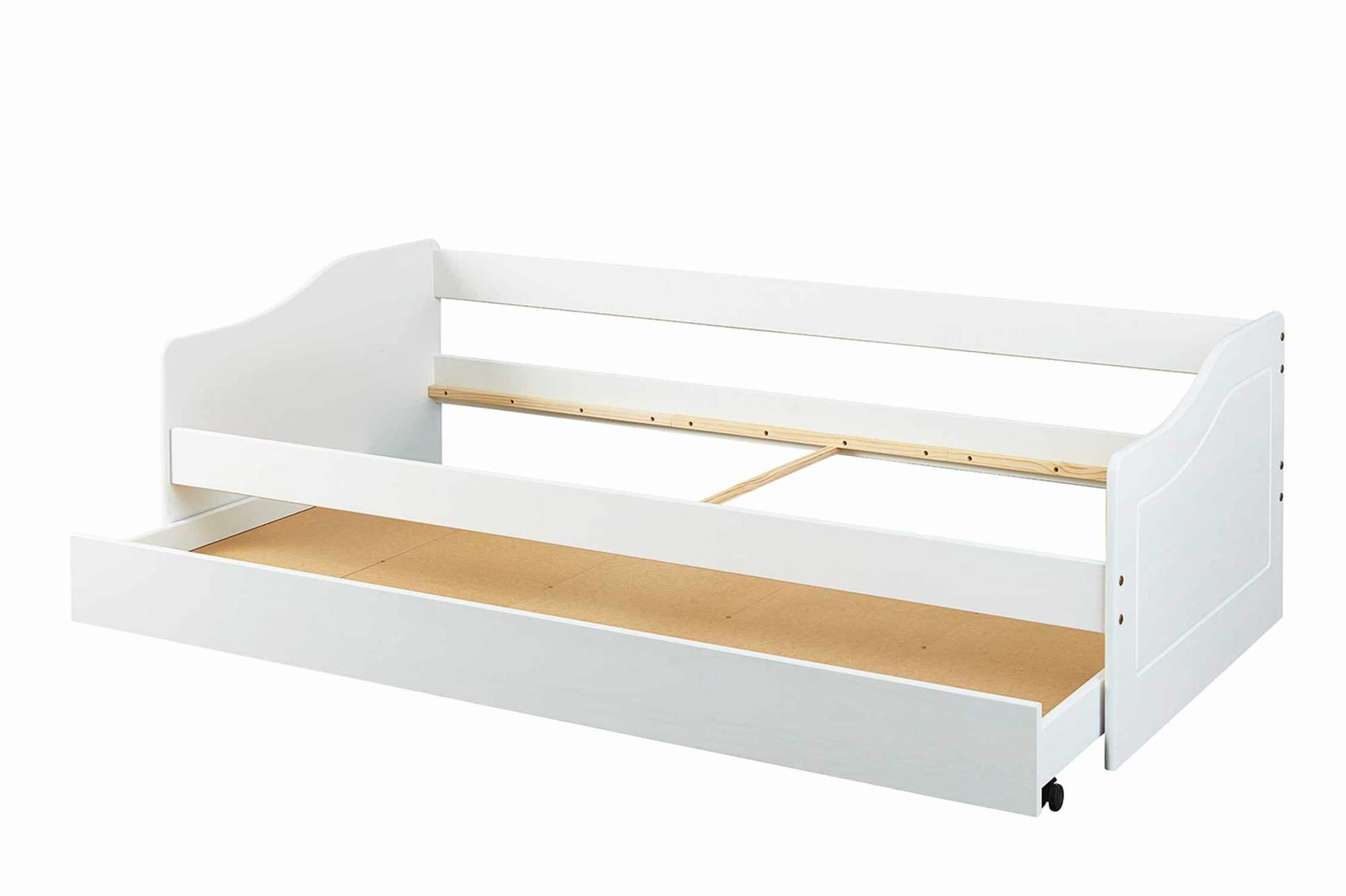 Kinderbett Sofabett Malte Weiss Mit Schublade 90 X 200 Kiefer Massiv