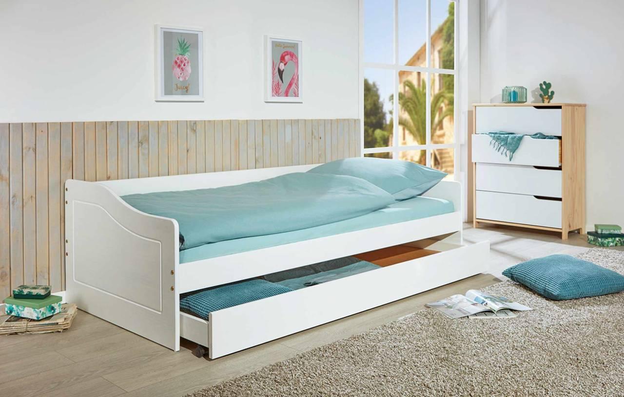 Kinderbett Sofabett MALTE weiß mit Schublade 90 x 200 Kiefer massiv