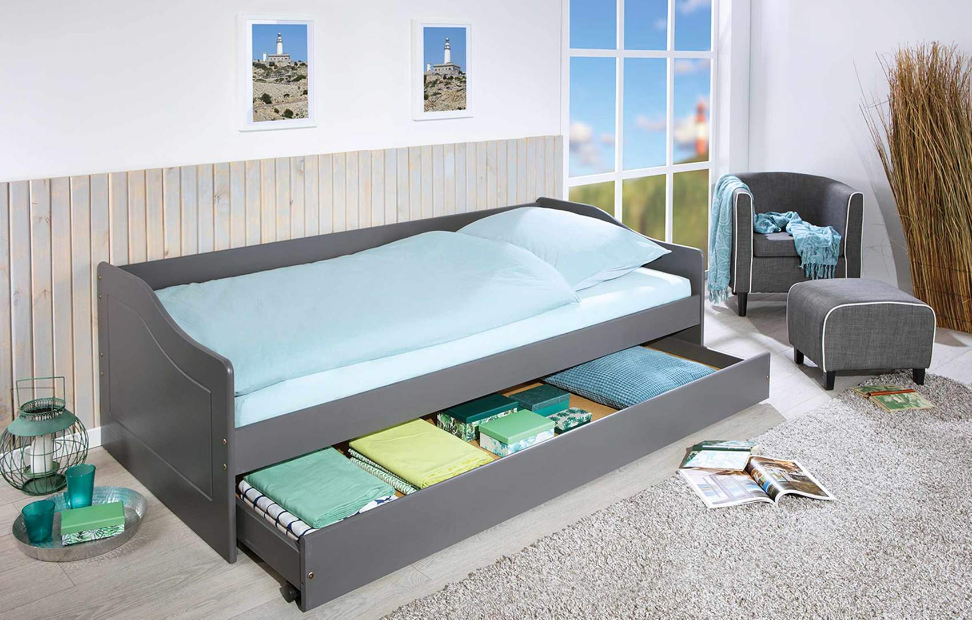 Details Zu Sofabett Kinderbett Malte Grau Mit Schublade 90 X 200 Kiefer Massiv