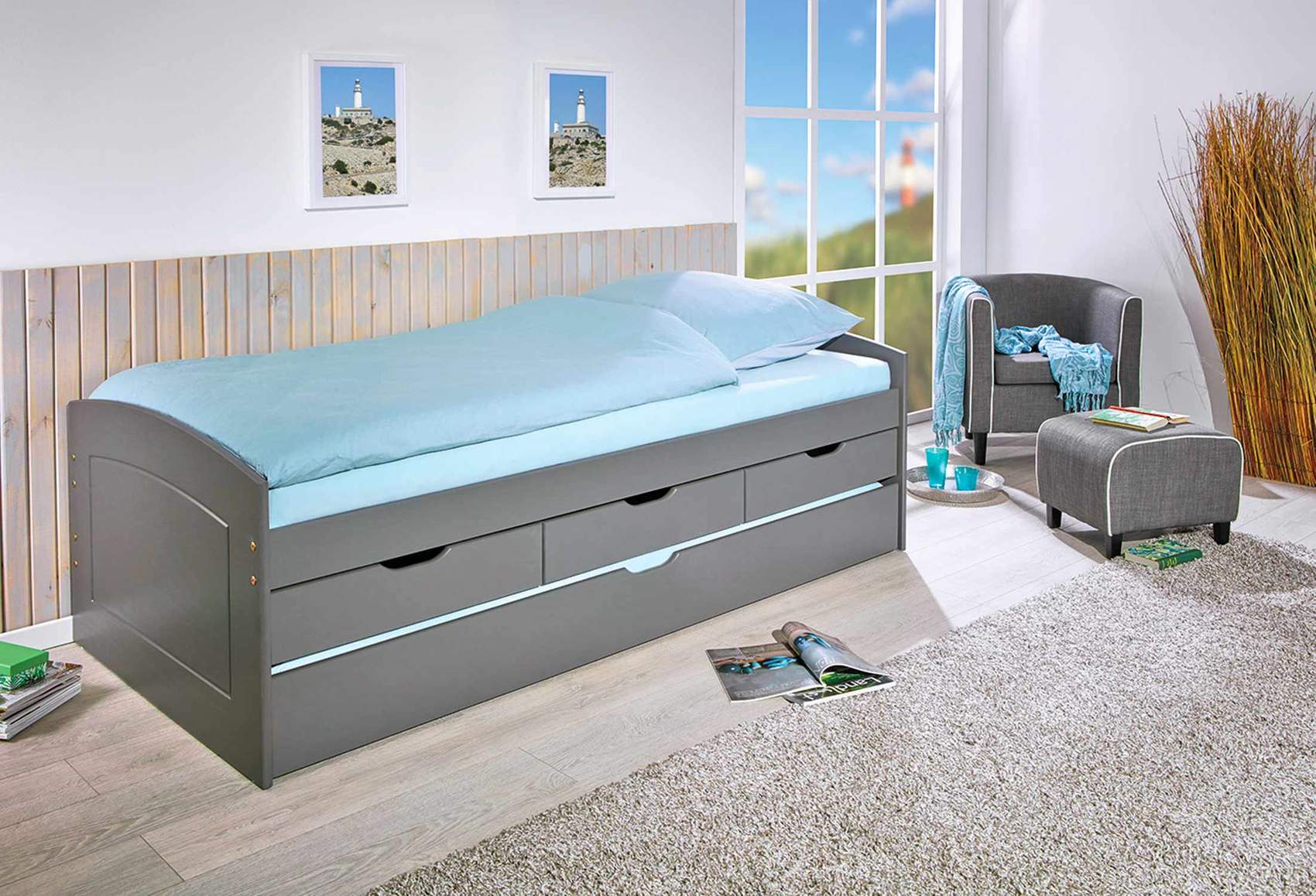 kinderbett funktionsbett rieka grau 90 x 200 kiefer massivholz. Black Bedroom Furniture Sets. Home Design Ideas