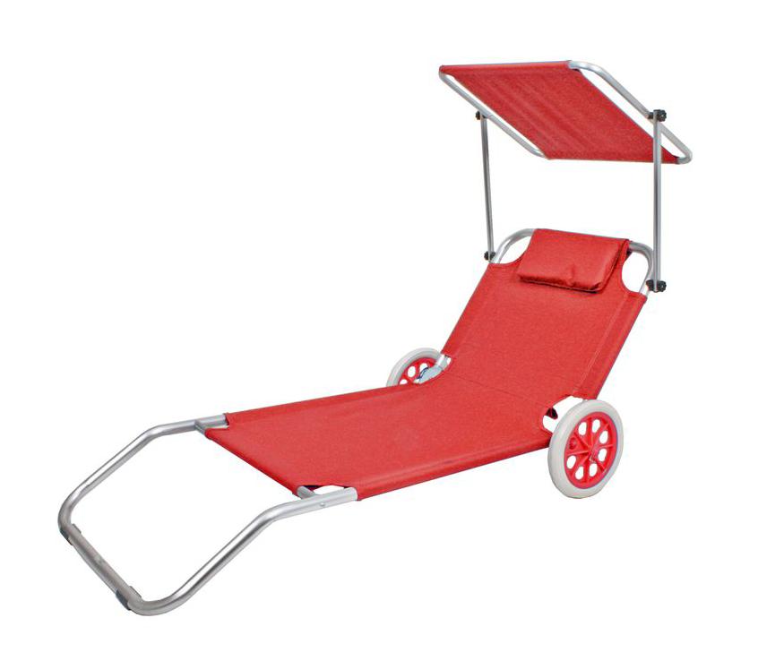 Rollliege Strandtrolley Beachtrolley in Rot mit Dach