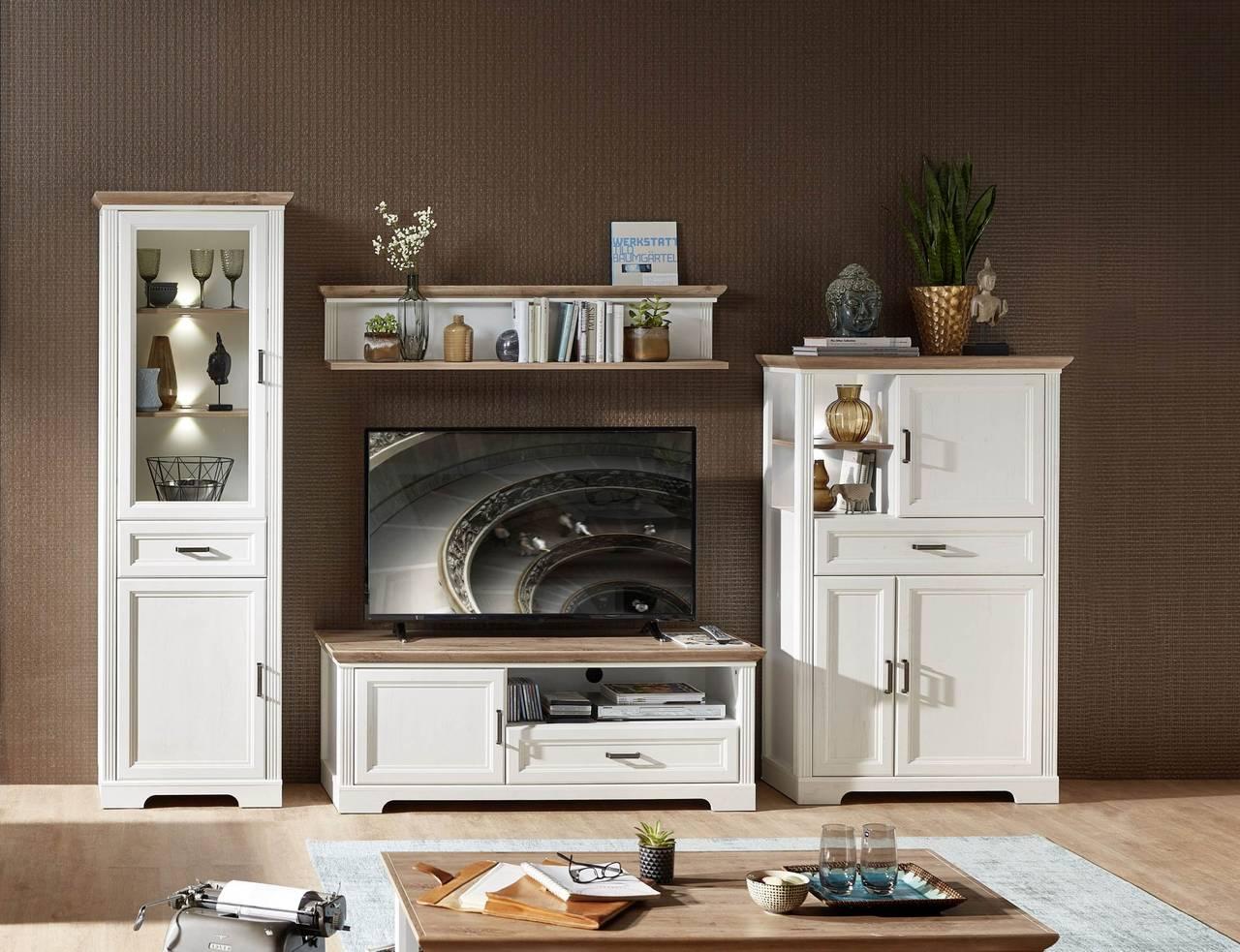 Wohnwand JASMIN UH80 Pinie weiß Nachbildung 4-teilig im Landhausstil