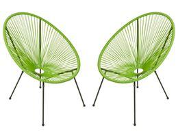 2 Stück Gartensessel Relaxsessel  DALIDA grün im Acapulco Style
