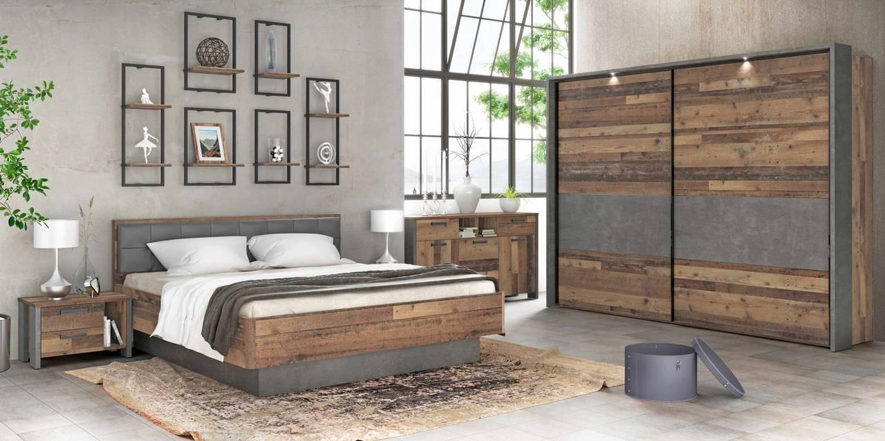 Schlafzimmer CLIF Binou 20, 20-tlg Komplettset Optik: Old Wood Vintage