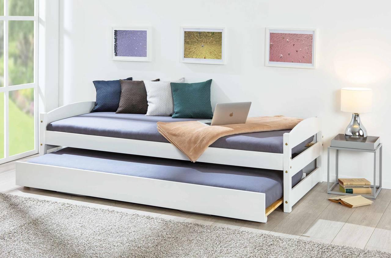 Ausziehbett Sofabett VINDAS 90 x 200 Kiefer Massivholz weiß