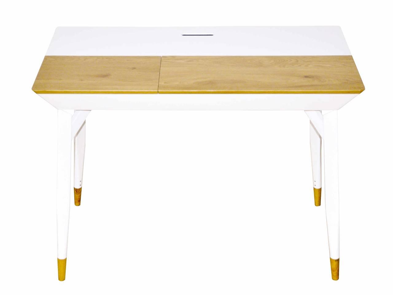 Schreibtisch BARTANI Bürotisch 2 Klappen Weiß Wildeiche-Optik