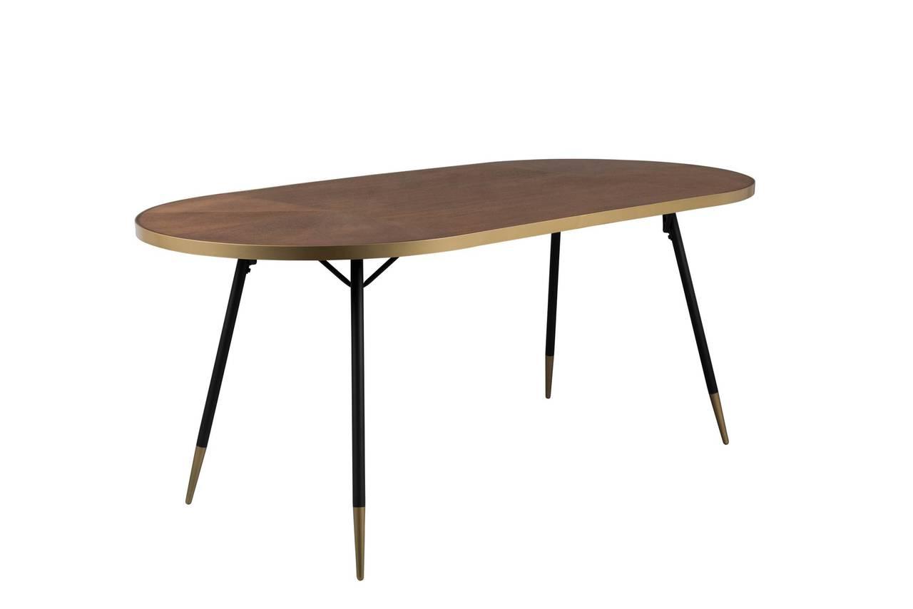 Esstisch DENISE 180 x 90 cm Platte oval Walnusfarbig