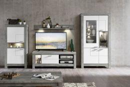 Wohnwand GRANADA 3W88+40 Weiß mit Haveleiche Nachbildung montiert