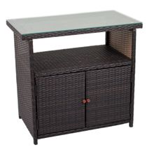 Outdoor Sideboard PADUA Kunststoffgeflecht Coffee braun