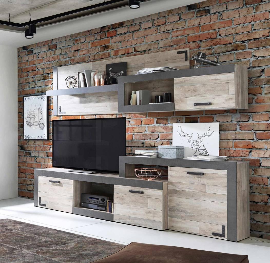 Wohnzimmerschrank Nagore Moderne Wohnwand Optik Vintage Eiche Beton