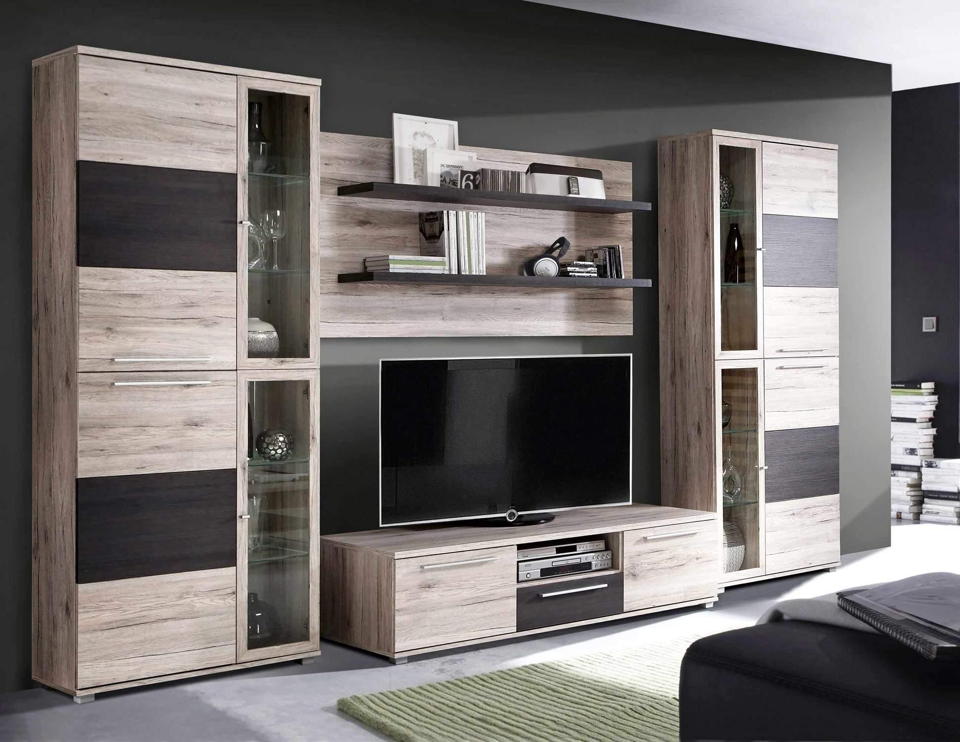 Wohnzimmerschrank ALLISTER Wohnwand Optik: Sandeiche und Touchwood