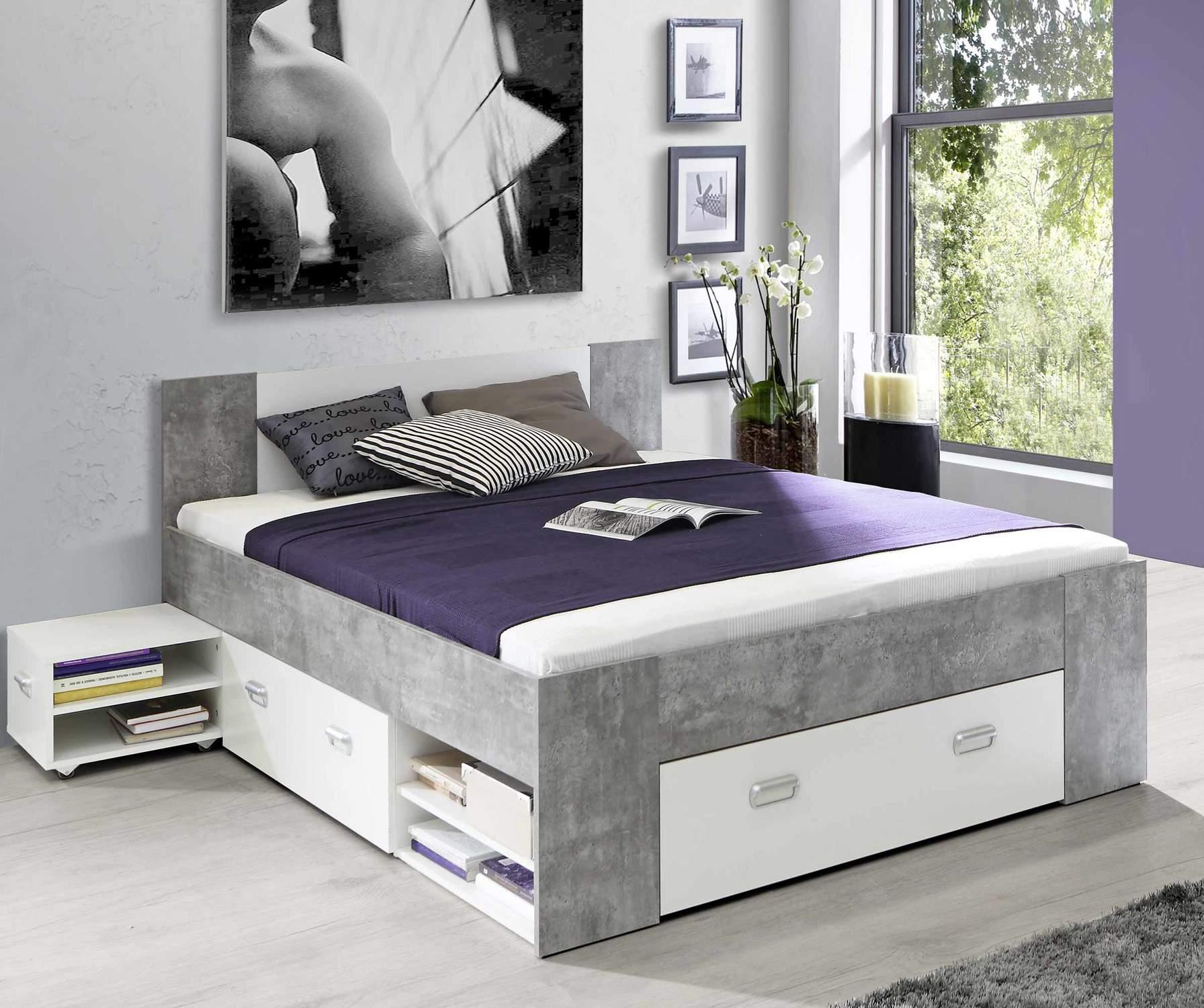 Funktionsbett Jugendbett BOB 140 x 200 cm Beton Optik / weiß von Forte